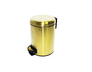 Lixeira Dourada em Aço Inox Fosca para banheiro com Pedal 5L – By Fineza