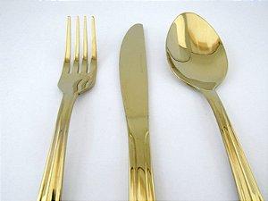 Faqueiro Dourado para Sobremesa By Fineza  - Victória 18 peças