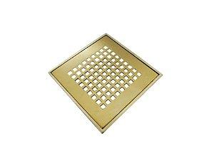 Ralo Dourado Quadriculado Gold com Caixilho 15x15 - By Fineza