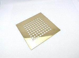 Ralo Quadriculado Dourado Fineza- 9,5x9,5cm