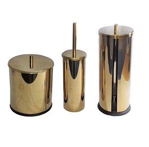 Kit Dourado Lixeira Dourada+Escova Sanitária+Porta Papel