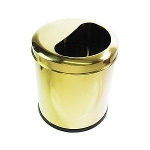 Lixeira Dourada ½ Lua em aço Inox 6L – By Fineza