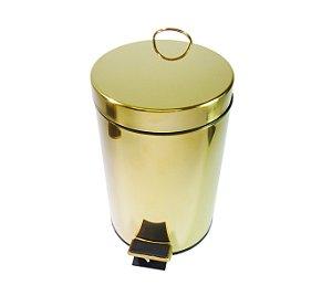 Lixeira Dourada em Aço Inox para banheiro com Pedal 20L – By Fineza