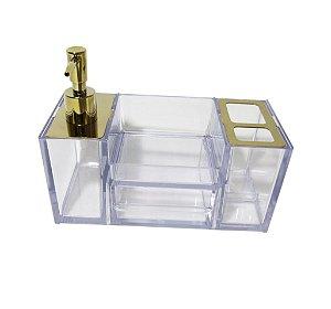 Organizador Dourado para Pia de Banheiro - By Fineza