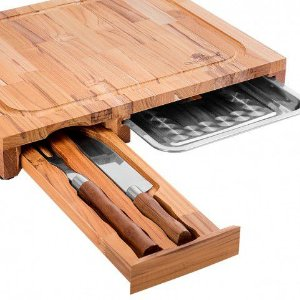 Kit Barbecue Oeste Wood Churrasco - Tabua C/ 1 Faca 1 Garfo