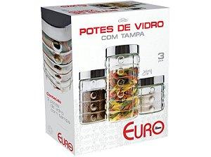 Conjunto 3 Potes de Vidro Decorado Bolas com Tampa EuroHome