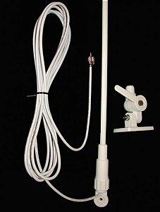 Peças e acessórios Focker - Antena VHF Marítima em Fibra - 0,5 Metro - Ganho Real até 3 dB - Branca