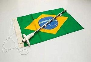 Mastro Porta Bandeira c/ Bandeira do Brasil Dupla Face p/ Embarcações 20x32cm 1 un.