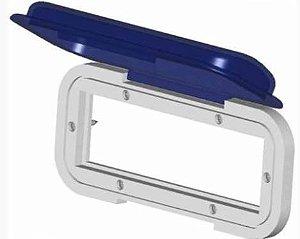 Peças e acessórios Lanchas Focker - Protetor Frontal de CD Player Marine Star - Tradicional Cor: Lente: Fumê Azul, Base: Branca