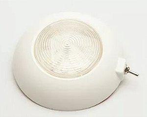 Peças e acessórios Lanchas Focker - Luminária de cabine circular LED 12V Grande base branca e chave em Aço inox (Branco, branco quente) 1 un.