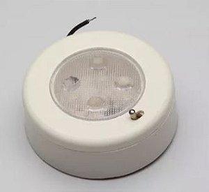 Peças e acessórios Lanchas Focker - Luminária de cabine circular pequena LED 24V Base branca (Branco frio) 1 un.