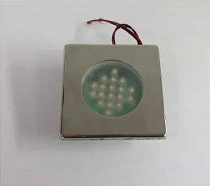 Peças e acessórios Lanchas Focker - Luminária de Cabine de Embutir Moldura em Aço Inox Quadrada LED 12V ou 24V (Branco quente, branco frio) 1 un.