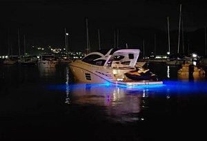 Par de Luz subaquática totalmente selada 04 LEDs 12V Lente ampliadora (Branco, azul ou verde)