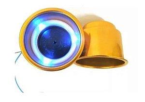 Porta Copo Iluminado Corpo em Alumínio Dourado (Iluminação LED azul, verde ou vermelho)