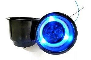 Peças e Acessórios Lancha Focker - Porta Copo Iluminado Corpo em Alumínio Preto (LED azul, verde ou vermelho)