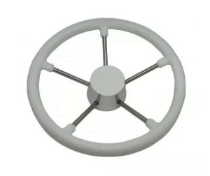 Peças e Acessórios Lancha Focker - Volante Náutico em Poliuretano Branco c/ Centro em Madeira e Raios em Inox - 300mm
