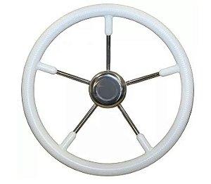 Peças e Acessórios Lancha Focker - Volante Náutico em Poliuretano Branco c/ Raios em Inox - 350mm