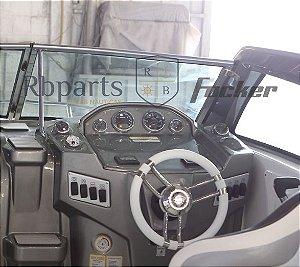 Peças e acessórios Lancha Focker - Para-brisa Vidro Com Esquadria de Alumínio Frontal Piloto Focker 265