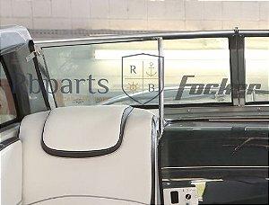 Peças e acessórios Lancha Focker - Para-brisa Vidro Com Esquadria de Alumínio Frontal Copiloto Focker 265