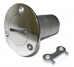 Peças e Acessórios Lanha Focker - Bocal de Abastecimento em Inox c/ Trava de Segurança e Chaveta - Universal - Sem Marcação