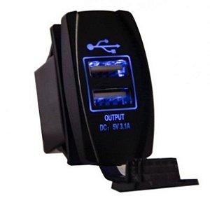 Peças e Acessórios Lancha Focker - Botão de Painel Iluminado Com Função Carregador USB Duplo 3.1A - Preto