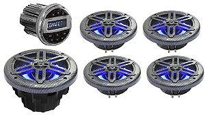 """Kit de som Youroo Marinizado (2 pares de alto falantes 6,5""""+radio+subwoofer) Design Fibra de Carbono LED"""