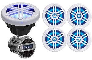 """Kit de som Youroo Marinizado (2 pares de alto falantes 8""""+radio+subwoofer) Branco LED"""