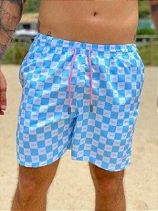 Shorts Focker Azul com Branco Quadriculado