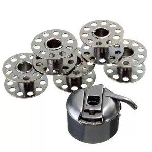 Caixa de Bobina + 5 Carretilhas Para Máquina Singer Domestica