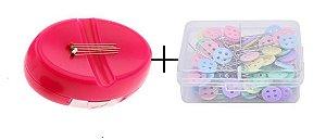 Kit Porta Alfinete Alfineteira Magnética Saboneteira + Alfinete Cabeça de Botão