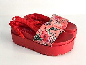 Sandália  Hibisco Vermelha com amarração