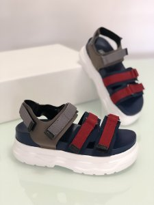 Sandália Flat Ídra Navy - vermelho e azul