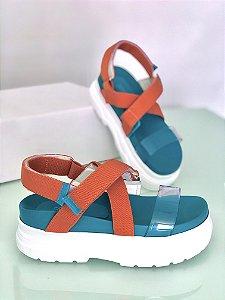 Sandália Flat Tiffany  - Transparente e Cenoura