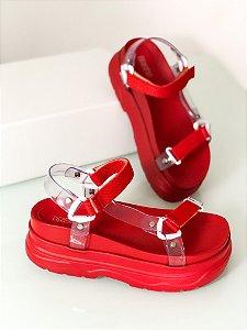 Sandália Flat Cristal Vermelha