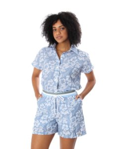 Conjunto Comfort New Feminino Azul Branco