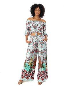 Conjunto Blusa Ombro A Ombro e Pantalona Luxury