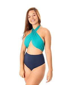 Maiô/Body Ocean Laços Bicolor Verde Água/Azul Marinho