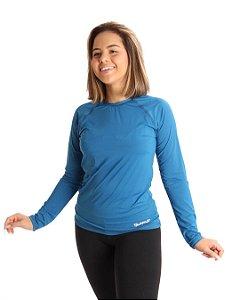 Camisa Life Proteção UV Feminina Azul Petróleo