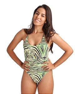 Maiô Life Frente Única Versaty Zebra Verde
