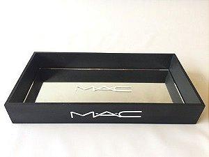 Bandeja Retangular Preto - MAC com espelho e pé de metal
