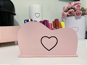 Porta Pincel MDF Coração Vasado Rosa Blush