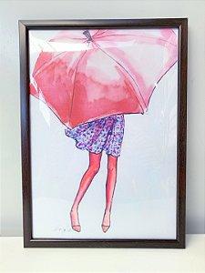 Quadro Menina Guarda chuva  Moldura Preta