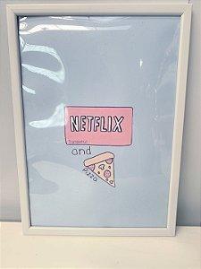 Quadro Netflix e pizza Tiffany  Moldura Branca