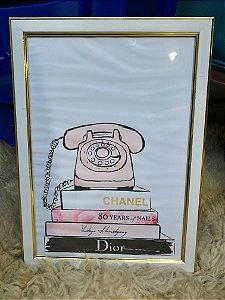 Quadro Telefone e livros  Moldura Branca com detalhes Dourado