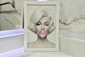 Quadro Marilyn Chiclete Moldura Branca
