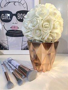 Cachepô Diamante Rose + flor