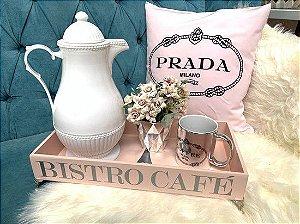 Bandeja Bistro Café Rose com pé de metal Prata