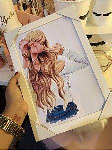 Quadro Menina Laço no cabelo Moldura Branca