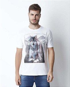 Camiseta Masculina Hiatto Wolf 3D Manga Curta