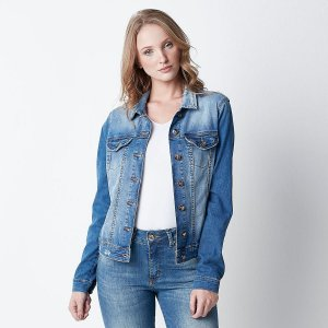 Jaqueta Jeans Feminino Hiatto Slim Lavada